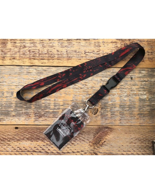 BLOOD SPLATTERED ALL OVER PRINT BLACK LANYARD BY TOTALLY TUBULAR