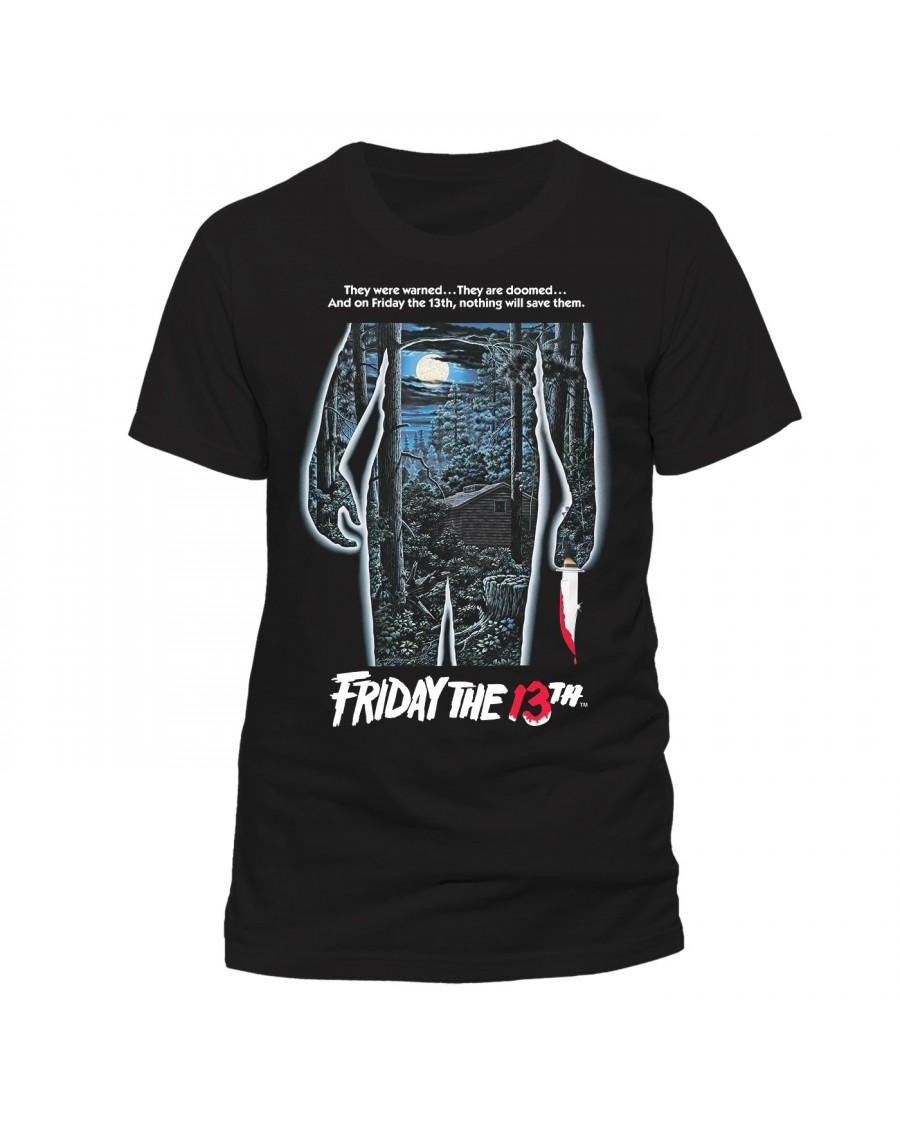 OFFICIAL FRIDAY THE 13TH MOVIE POSTER BLACK T-SHIRT