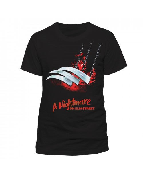 OFFICIAL NIGHTMARE ON ELM STREET FREDDY CLAW/ GLOVE BLACK T-SHIRT
