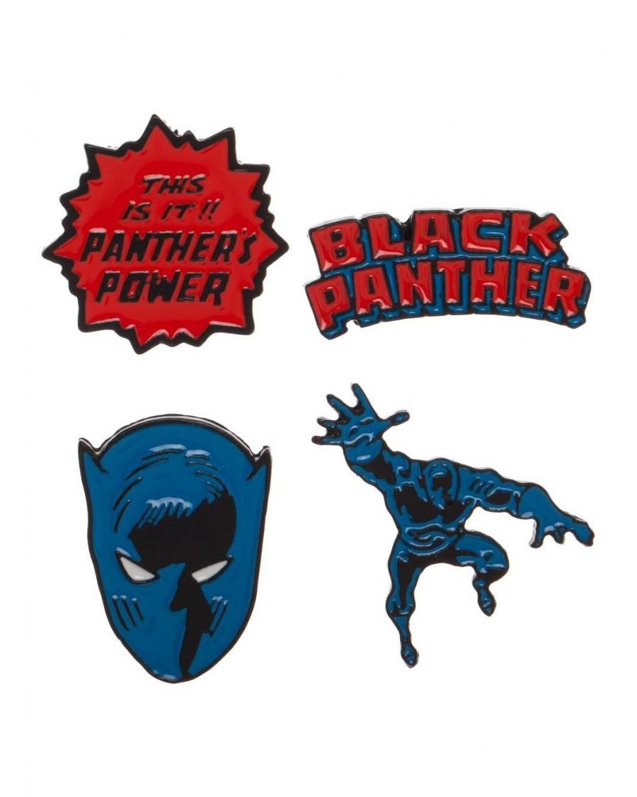 MARVEL COMICS - BLACK PANTHER COMIC STYLED 4 PIECE PIN BADGE SET