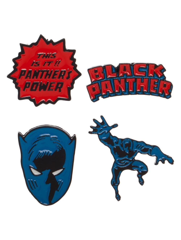 Marvel comics black panther comic styled 4 piece pin badge set