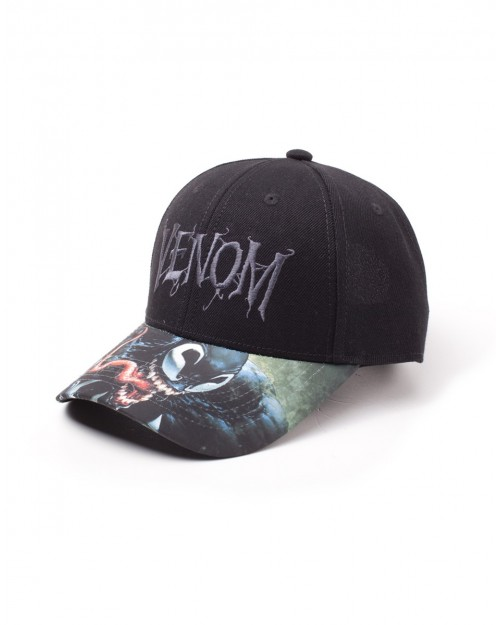 OFFICIAL MARVEL COMICS - VENOM LOGO BASEBALL CAP WITH PRINTED VISOR