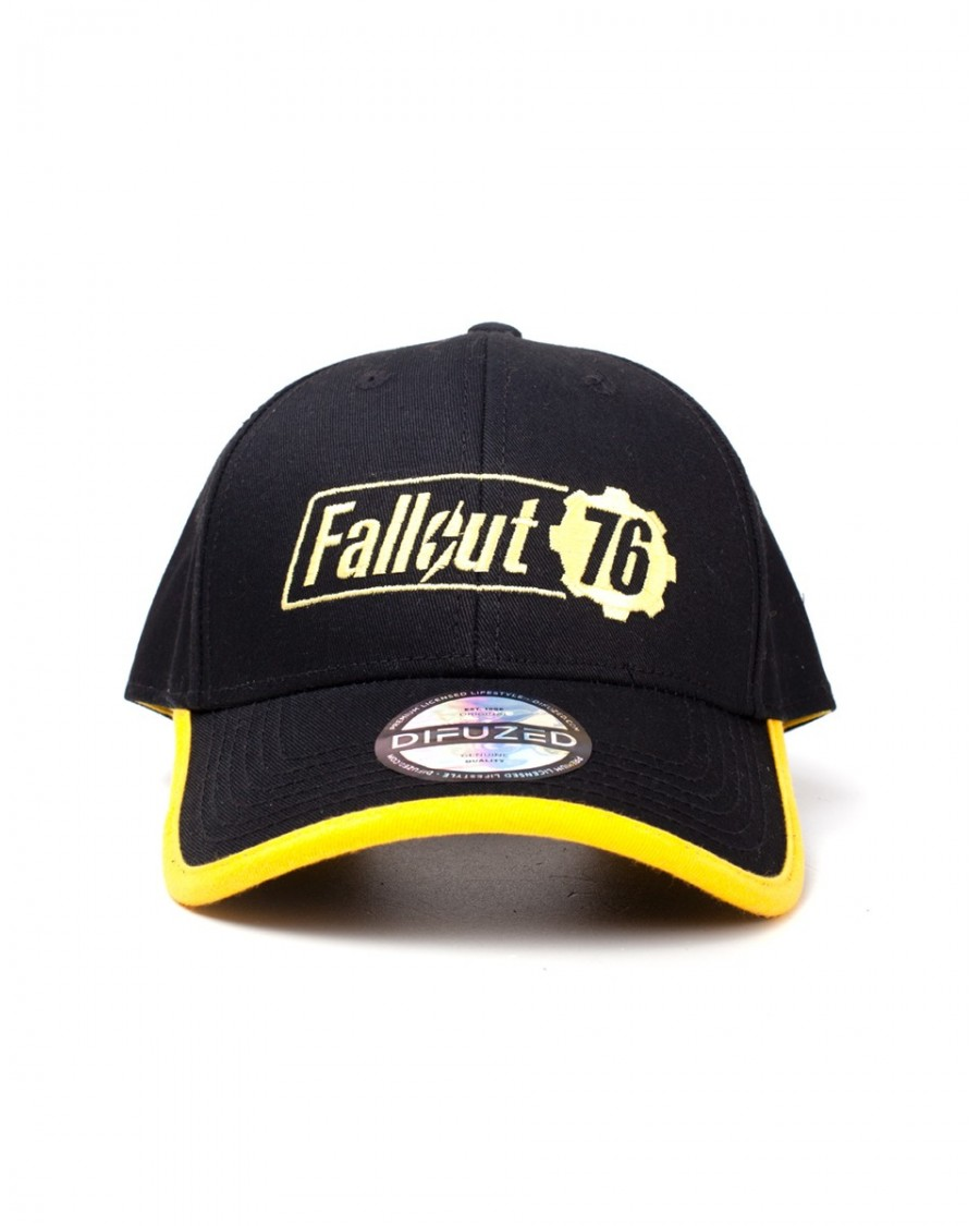 OFFICIAL FALLOUT 76 LOGO YELLOW AND BLACK BASEBALL SNAPBACK CAP