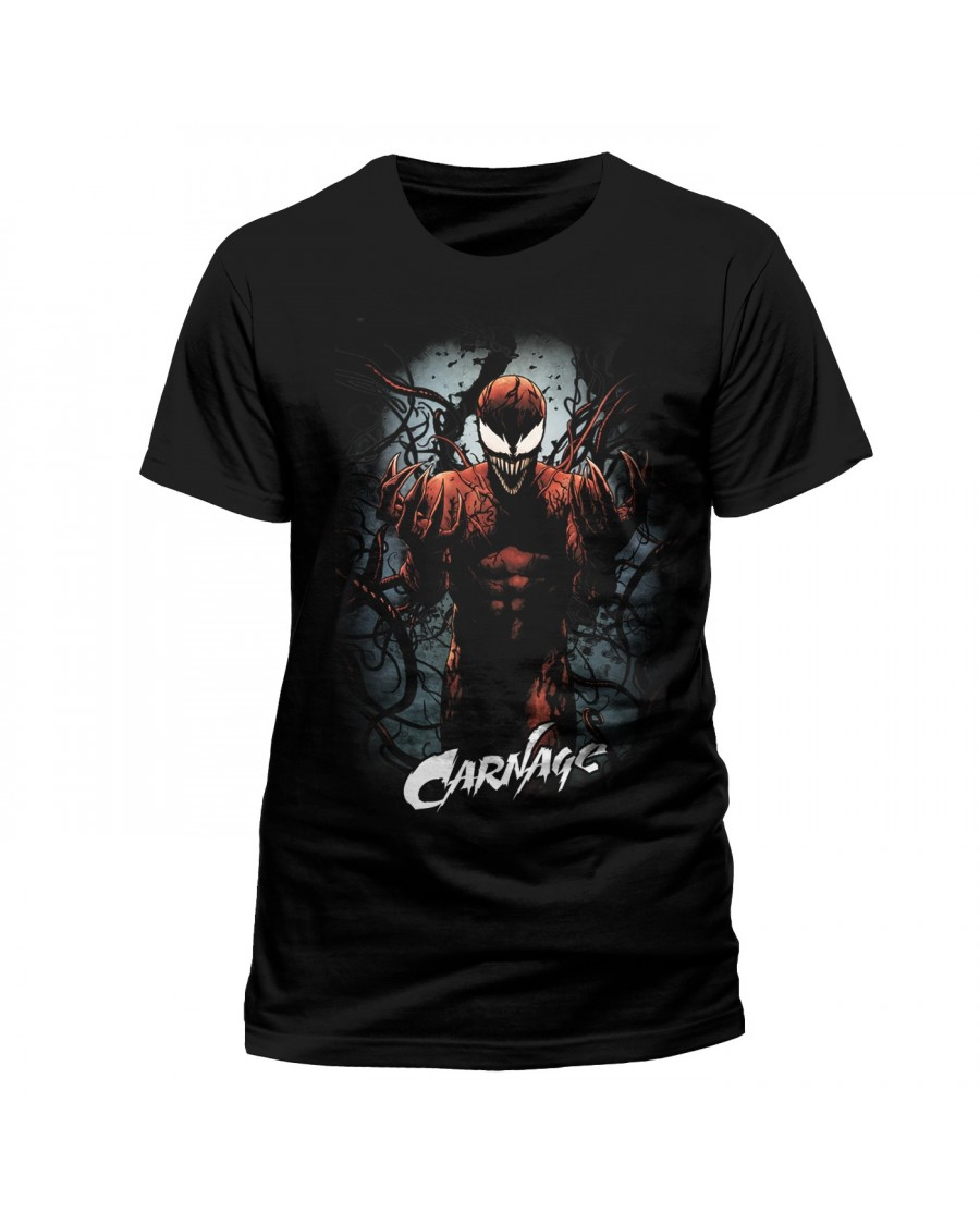 OFFICIAL MARVEL COMICS - CARNAGE CRAZY PRINT BLACK T-SHIRT