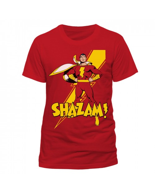 OFFICIAL DC COMICS SHAZAM (CAPTAIN MARVEL) RED T-SHIRT