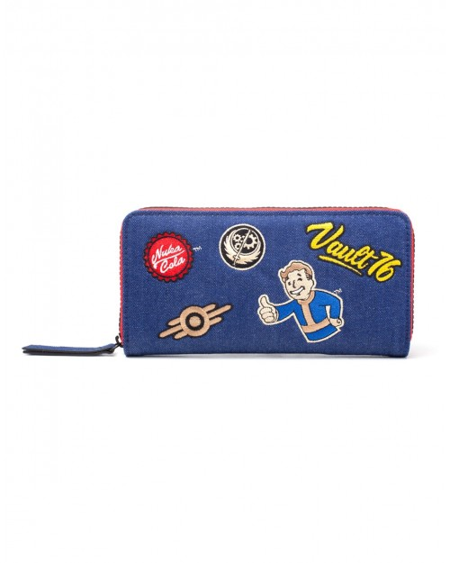 OFFICIAL BETHESDA - FALLOUT 76 - EMBOIRDERED PATCHES STYLED BLUE ZIP PURSE