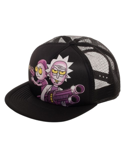 OFFICIAL ADULT SWIM - RICK AND MORTY PRINTED FRONT TRUCKER STYLED SNAPBACK CAP