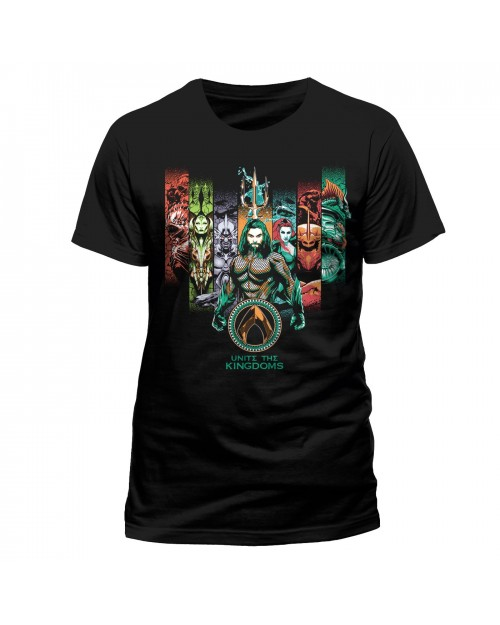 DC COMICS AQUAMAN MOVIE - UNITE THE KINGDOMS BLACK T-SHIRT