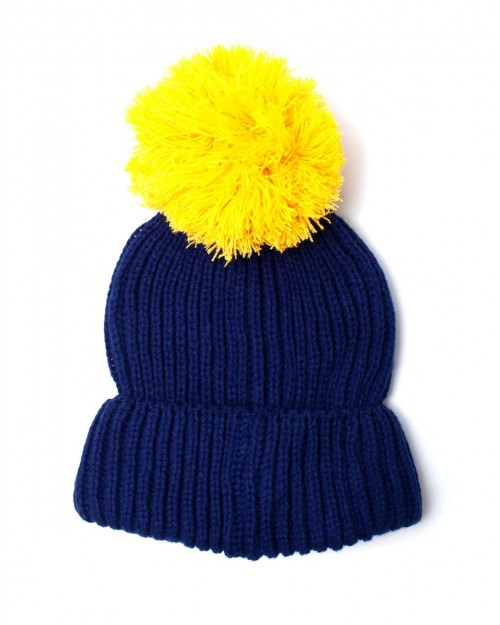 OFFICIAL BETHESDA - FALLOUT 76 - VAULT 76 LARGE POM BLUE AND YELLOW BEANIE