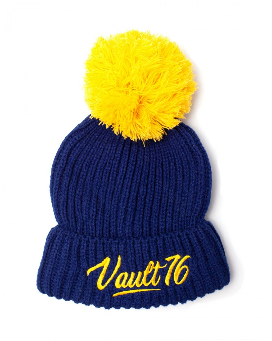 b60f45fee3 OFFICIAL BETHESDA - FALLOUT 76 - VAULT 76 LARGE POM BLUE AND YELLOW BEANIE