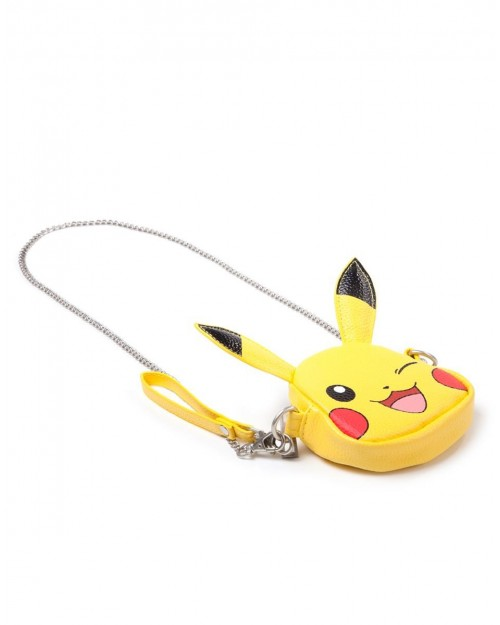 NINTENDO - POKEMON PIKACHU FACE SHAPED COIN PURSE/ BAG