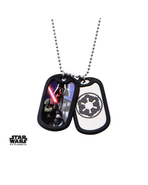 STAR WARS - DARTH VADER / GALACTIC EMPIRE DOG TAG PENDANT WITH CHAIN NECKLACE