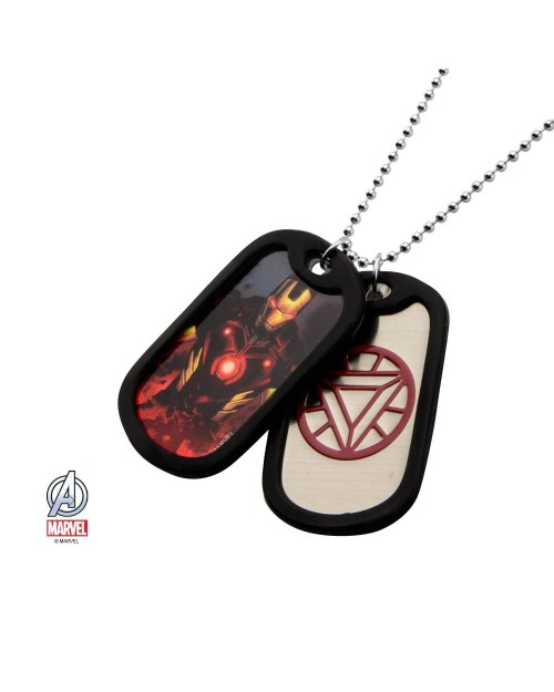 MARVEL COMICS - IRON MAN SUITED/ ARC SYMBOL DOG TAG PENDANT WITH CHAIN NECKLACE