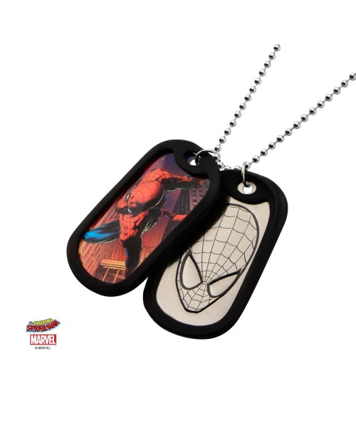 MARVEL COMICS - SPIDER-MAN SUITED/ MASK OUTLINE DOG TAG PENDANT WITH CHAIN NECKLACE