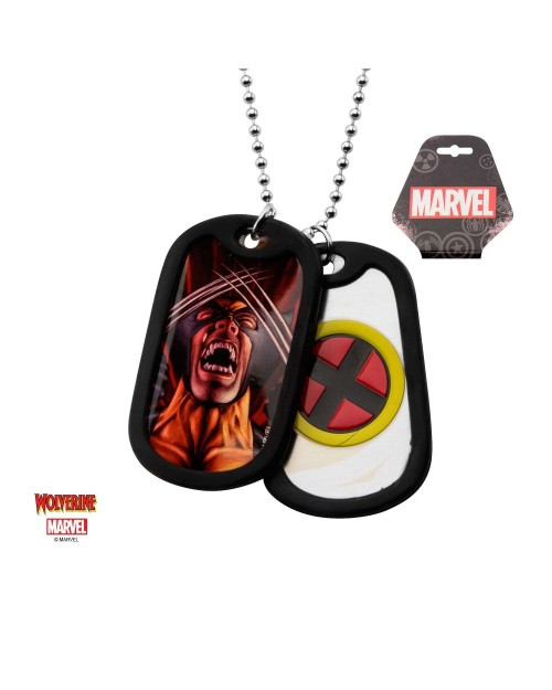MARVEL COMICS - WOLVERINE SUITED/ X-MEN SYMBOL DOG TAG PENDANT WITH CHAIN NECKLACE