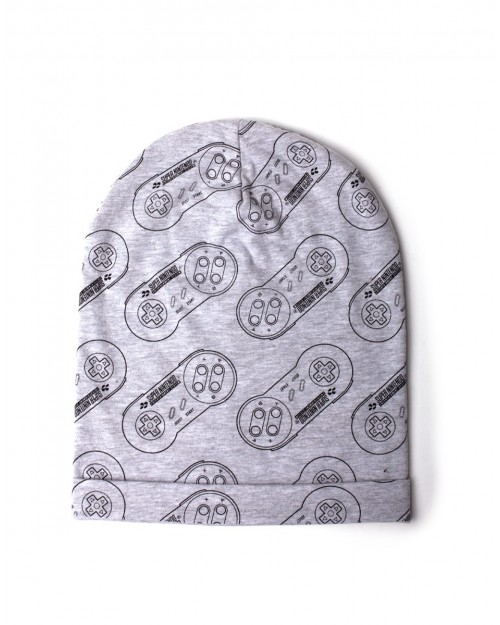 OFFICIAL NINTENDO - SNES CONTROLLER TILED PRINT GREY SUMMER BEANIE HAT