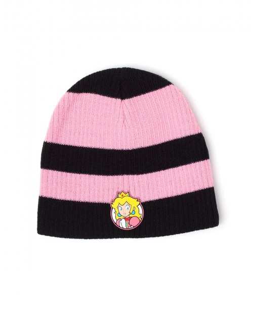 OFFICIAL NINTENDO - SUPER MARIO BROS PRINCESS PEACH RUBBER PATCH YELLOW AND BLACK STRIPE BEANIE