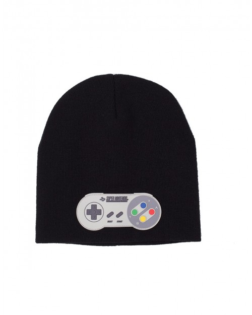 OFFICIAL SUPER NINTENDO ENTERTAINMENT SYSTEM RUBBER CONTROLLER BLACK KNITTED STYLED BEANIE