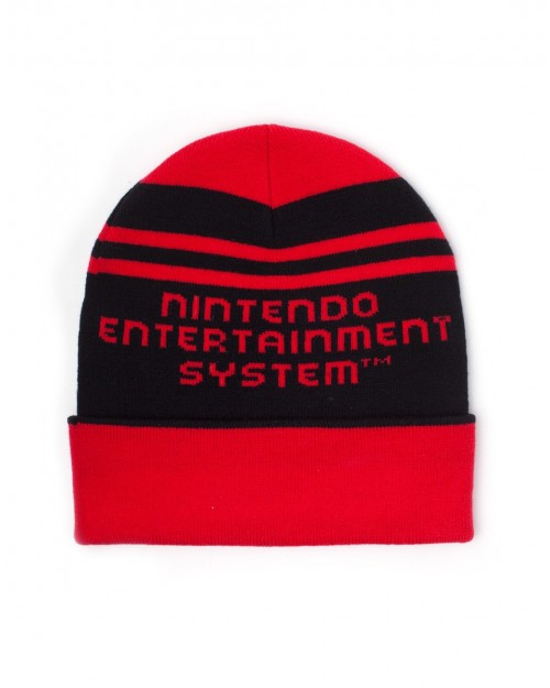 OFFICIAL NINTENDO ENTERTAINMENT SYSTEM CONTROLLER RED KNITTED STYLEDCUFF BEANIE