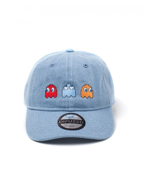 OFFICIAL PAC-MAN BLINKY, INKY & CLYDE DENIM STYLED STRAPBACK BASEBALL CAP 'DAD HAT'