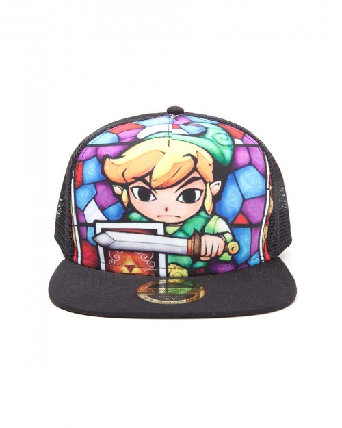 OFFICIAL NINTENDO - THE LEGEND OF ZELDA: WIND WAKER LINK STAINED GLASS PRINT TRUCKER SNAPBACK CAP