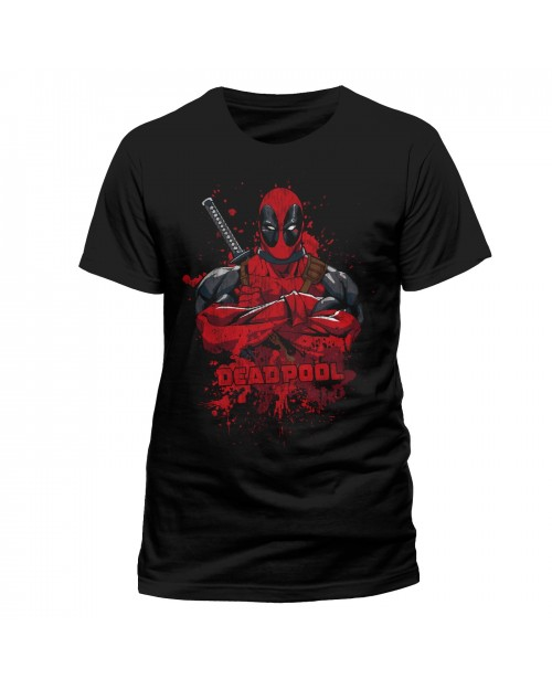 MARVEL COMICS - DEADPOOL BLOOD SPLAT BLACK T-SHIRT