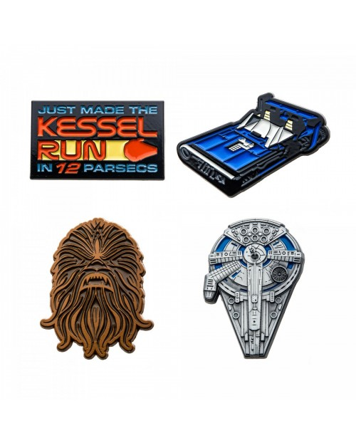 OFFICIAL STAR WARS - HAN SOLO SET OF 4 METAL ENAMEL PIN BADGE