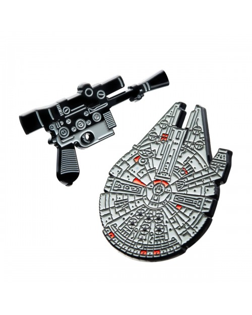 OFFICIAL STAR WARS - HAN SOLO BLASTER AND MILLENNIUM FALCON METAL ENAMEL PIN BADGE