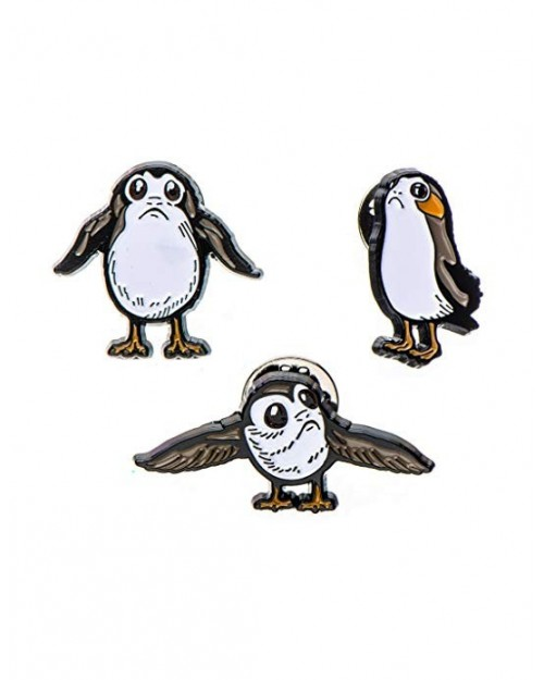 OFFICIAL STAR WARS - PORG SET OF 3 METAL ENAMEL PIN BADGE