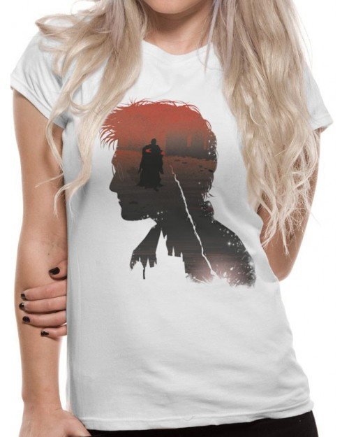 HARRY POTTER - HARRY SILHOUETTE BATTLE PRINT WHITE T-SHIRT