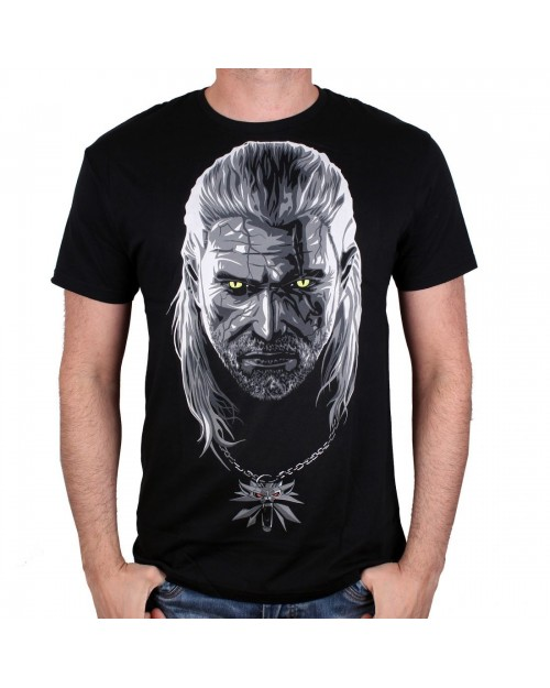 OFFICIAL WITCHER 3 - GERALT OF RIVIA WITH MEDALLION BLACK T-SHIRT
