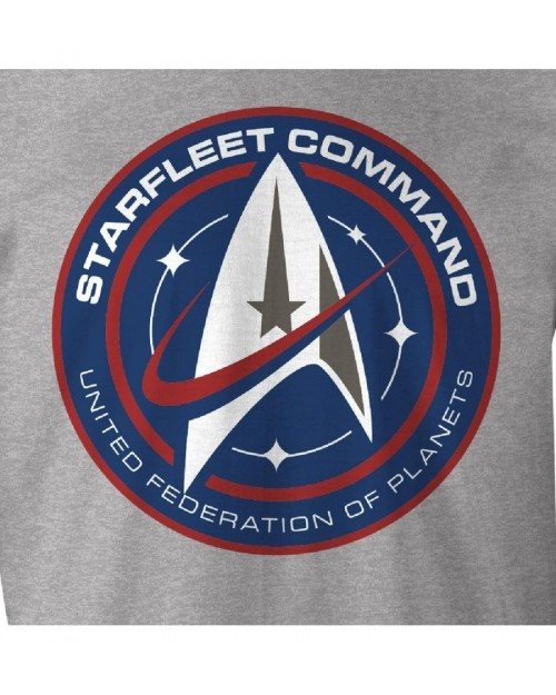 OFFICIAL STAR TREK - STARFLEET COMMAND 'UNITED FEDERATION OF PLANETS' LOGO GREY T-SHIRT