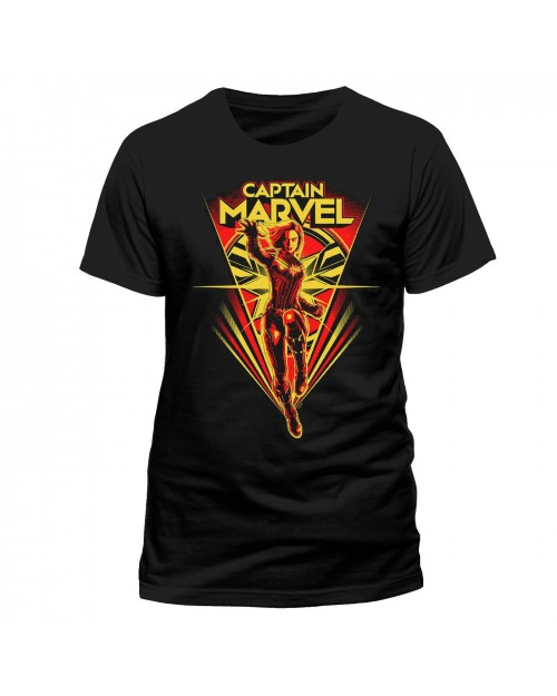 MARVEL COMICS - CAPTAIN MARVEL FLYING / TEXT SYMBOL PRINT BLACK T-SHIRT