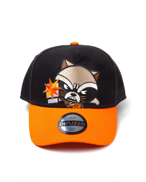 OFFICIAL MARVEL COMICS - GUARDIANS OF THE GALAXY ROCKET RACCOON KAWAII CURVED SNAPBACK BASEBALL CAP