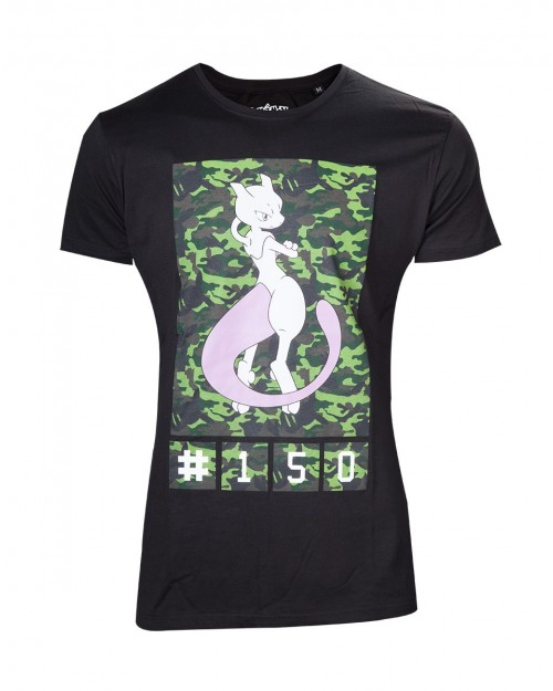 OFFICIAL POKEMON MEWTWO 150 CAMOUFLAGE PRINT BLACK T-SHIRT