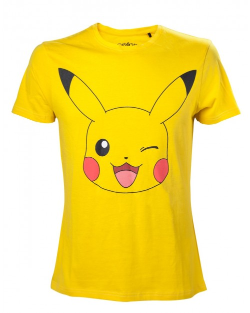 OFFICIAL POKEMON PIKACHU FACE PRINT YELLOW COTTON T-SHIRT