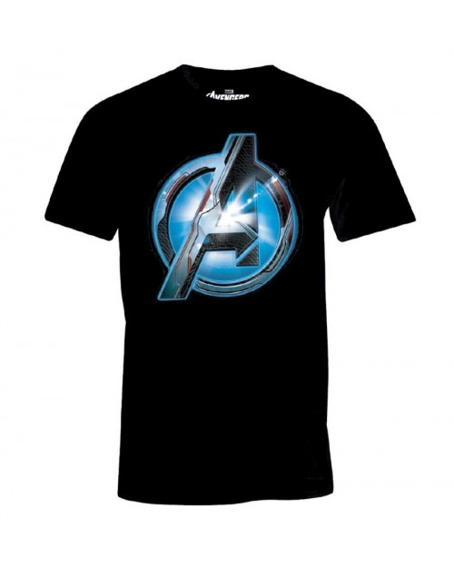 OFFICIAL MARVEL COMICS - AVENGERS: ENDGAME - QUANTUM REALM 'A' SYMBOL NAVY BLUE T-SHIRT