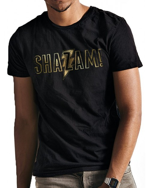 DC COMICS - SHAZAM (CAPTAIN MARVEL) GOLD FOIL PRINT LOGO BLACK T-SHIRT