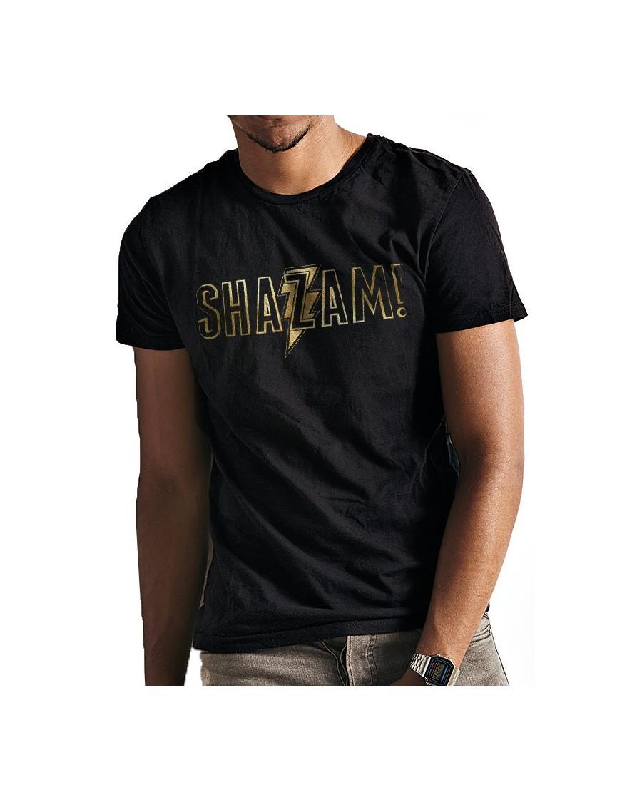 DC COMICS - SHAZAM (CAPTAIN MARVEL) GOLD FOIL PRINT LOGO BLACK T-SHIRT