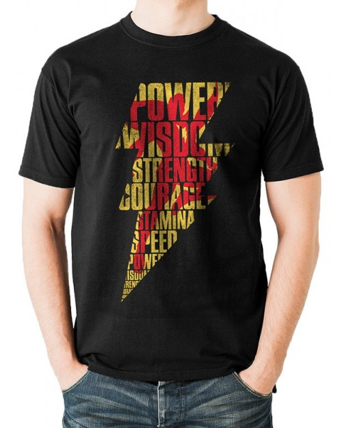 DC COMICS - SHAZAM (CAPTAIN MARVEL) LIGHTING BOLT TEXT CUTOUT BLACK T-SHIRT