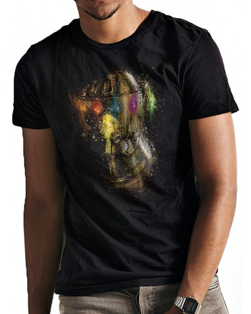 OFFICIAL AVENGERS ENDGAME - INFINITY GAUNTLET SPLATTER BLACK T-SHIRT