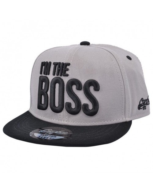 CARBON 212 I'M THE BOSS TEXT GREY SNAPBACK CAP