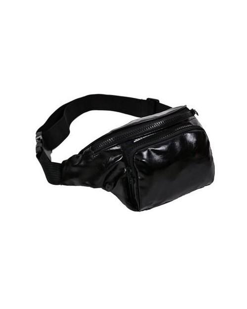BLACK PU BUM BAG (FANNY PACK)