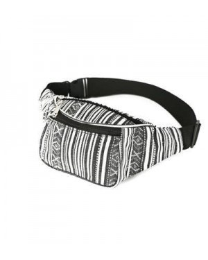 BLACK AND WHITE CANVAS BUM BAG (FANNY PACK)