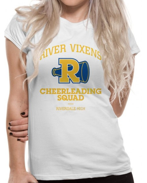 OFFICIAL ARCHIE COMICS - RIVERDALE RIVER VIXENS CHEERLEADING SQUAD WHITE FITTED T-SHIRT