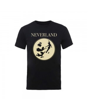 OFFICIAL DISNEY - PETERPAN NEVERLAND MOON SILHOUETTE BLACK T-SHIRT