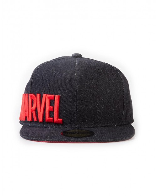 OFFICIAL MARVEL COMICS - TEXT LOGO SIDE EMBROIDERY BLACK SNAPBACK CAP