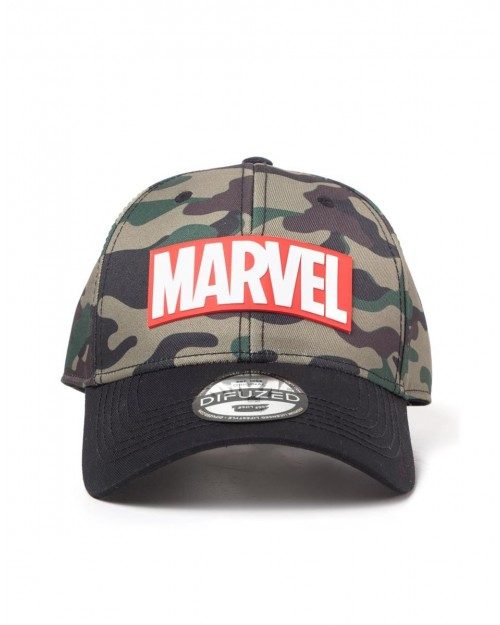 OFFICIAL MARVEL COMICS - RED LOGO CAMOUFLAGE CURVED BASEBALL CAP