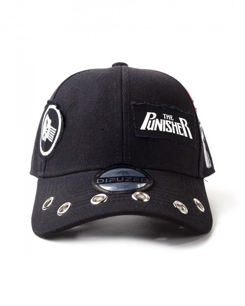 OFFICIAL MARVEL COMICS - THE PUNISHER PUNK CURVED BLACK SNAPBACK BASEBALL CAP