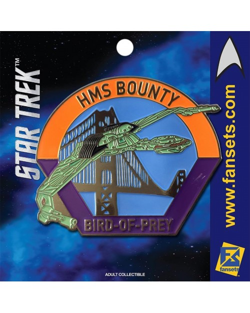 OFFICIAL STAR TREK - HMS BOUNTY (BIRD OF PREY) FANSET METAL PIN BADGE
